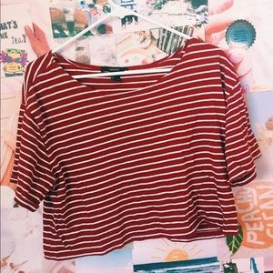 Cropped top maroon striped shirt